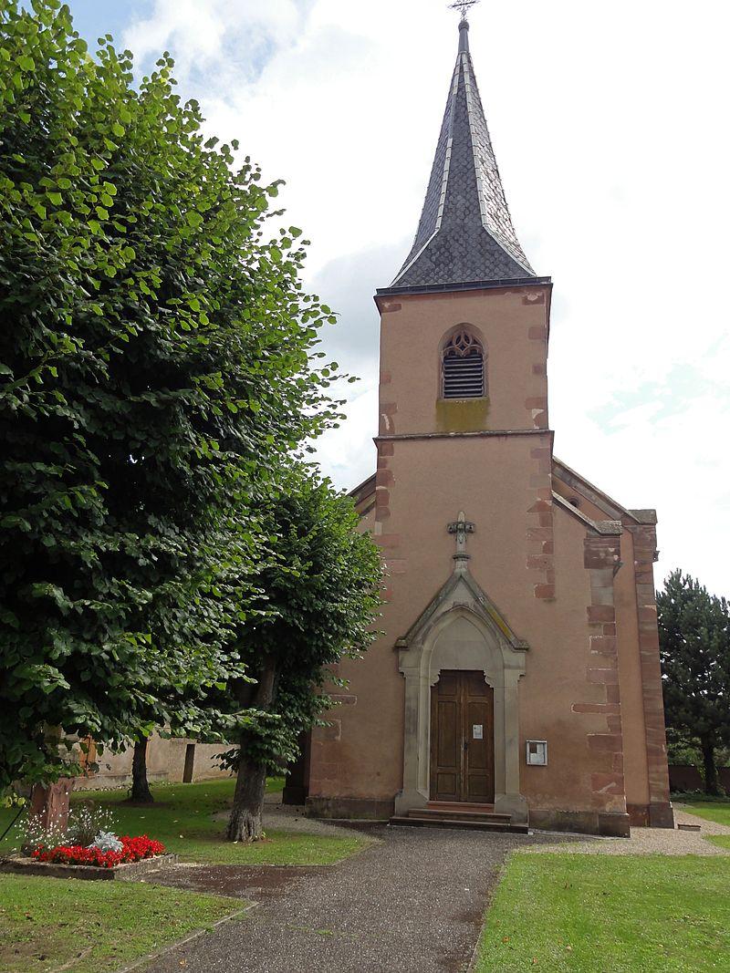 Photo de Église Saint-Étiennetrois pierres tombales, porte d'entrée Renaissance, Boofzheim, PA00084637
